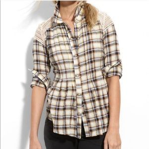 Free People Lace and Tucked Plaid Shirt